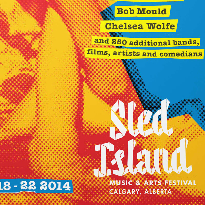 Sled Island print design and production. Rachel Teresa Park, freelance graphic designer in Victoria, BC